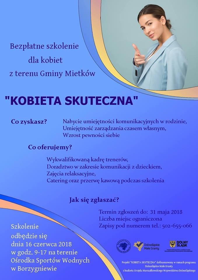 """Bezpłatne szkolenie dla kobiet """"KOBIETA SKUTECZNA"""""""